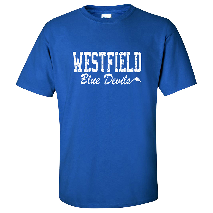 new arrival 8e801 af373 Westfield Blue Devils Distressed Royal S/S Tee