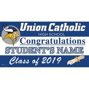 Custom Name Union Catholic High School Graduation 2019 Lawn Sign