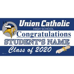 Custom Name Union Catholic High School Graduation 2020 Lawn Sign