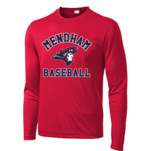 Mendham Baseball Wicking Long Sleeve Tee – Red