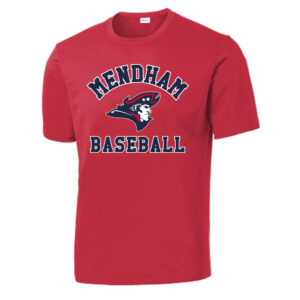 Mendham Baseball Wicking Short Sleeve Tee – Red